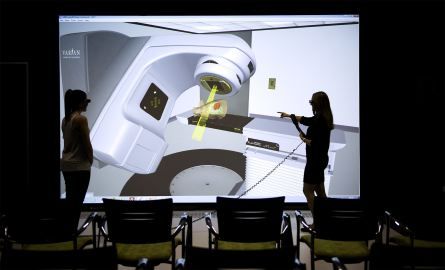 Radiation Therapy student using Virtual Environment Radiotherapy Training suite