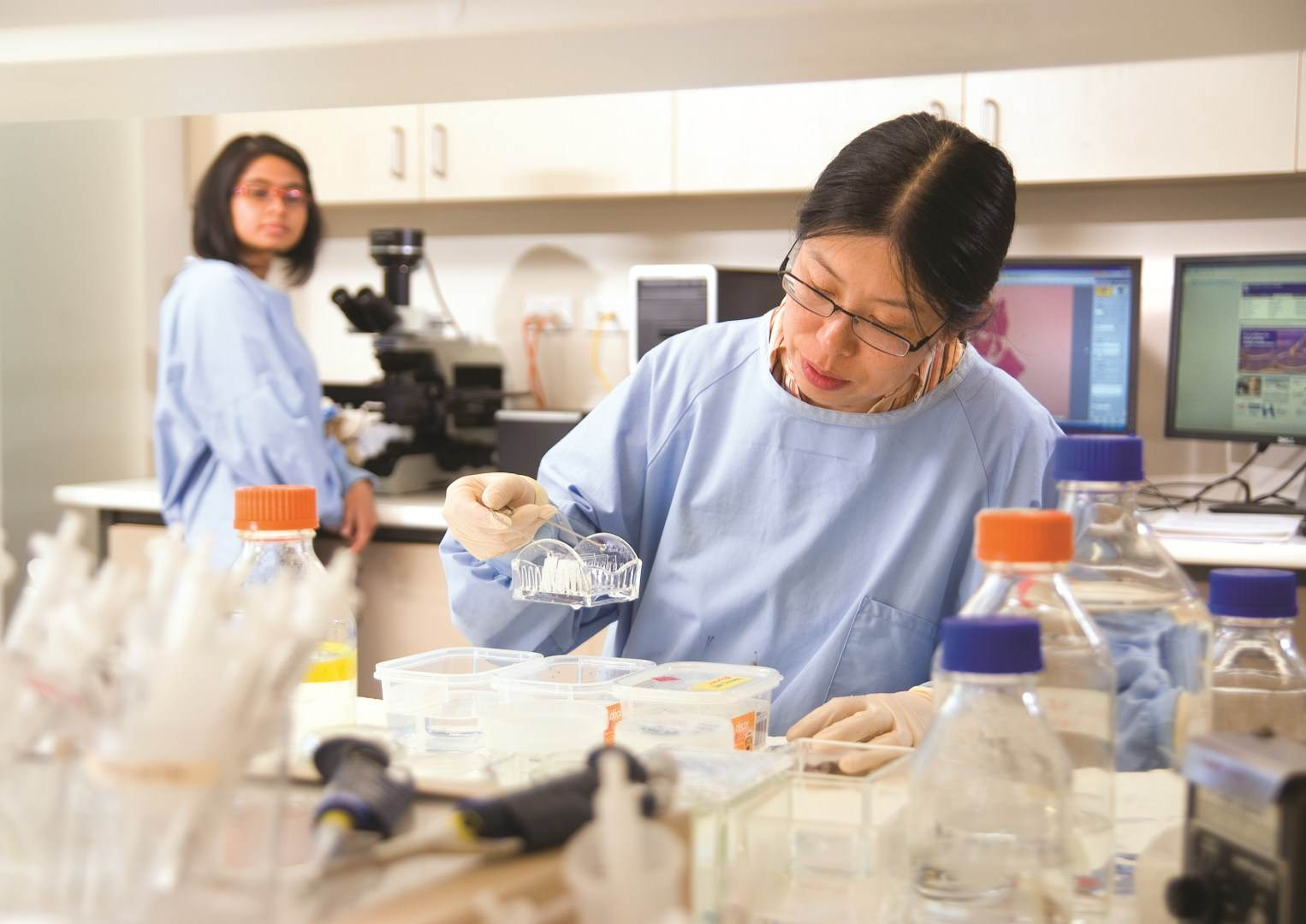 Biomedical research student using campus research facilities